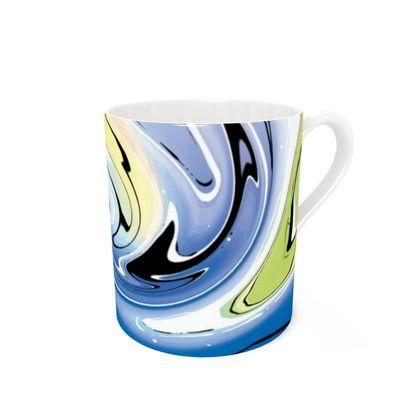 Bone China Mug - Multicolour Swirling Marble Pattern 9 of 12