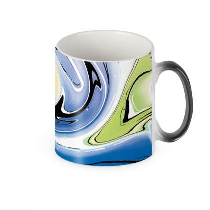 Heat Changing Mug - Multicolour Swirling Marble Pattern 9 of 12