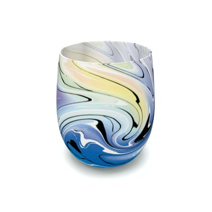 Water Glass - Multicolour Swirling Marble Pattern 9 of 12