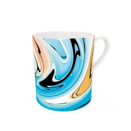 Bone China Mug - Multicolour Swirling Marble Pattern 10 of 12