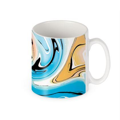 Builders Mugs - Multicolour Swirling Marble Pattern 10 of 12