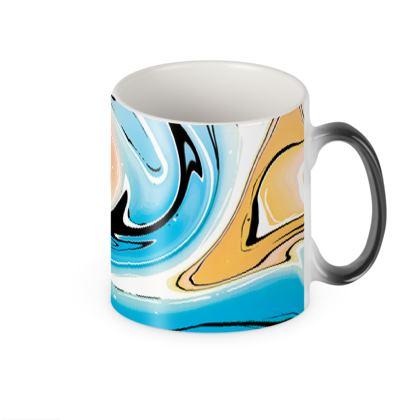 Heat Changing Mug - Multicolour Swirling Marble Pattern 10 of 12