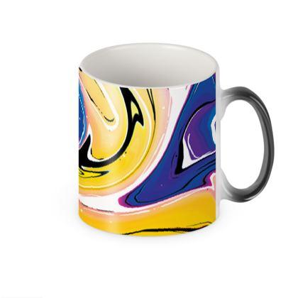 Heat Changing Mug - Multicolour Swirling Marble Pattern 12 of 12