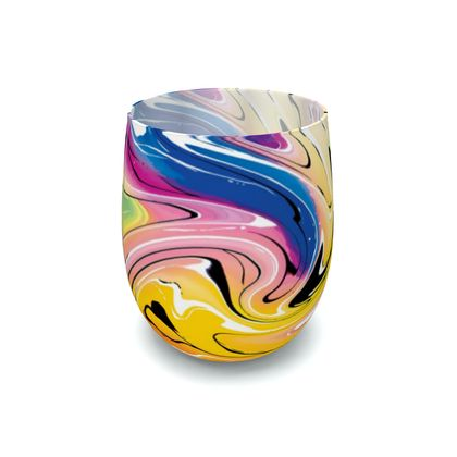 Water Glass - Multicolour Swirling Marble Pattern 12 of 12