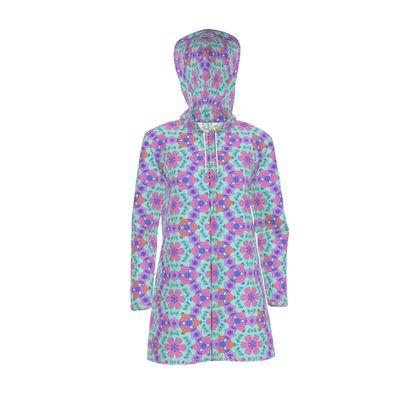 Womens Hooded Rain Mac pink, mauve,  Geometric Florals  Beehive