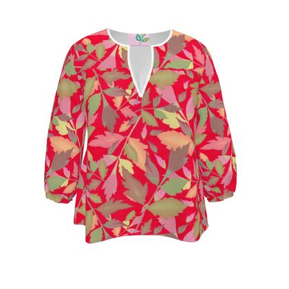 Womens Blouse Red Floral  Cathedral Leaves  Muse