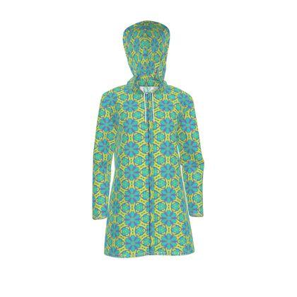 Womens Hooded Rain Mac blue, yellow  Geometric Florals  Hidden Gems