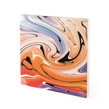 Wood Prints - Multicolour Swirling Marble Pattern 4 of 12