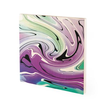 Wood Prints - Multicolour Swirling Marble Pattern 7 of 12