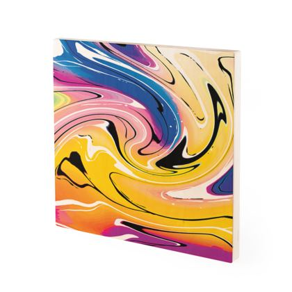 Wood Prints - Multicolour Swirling Marble Pattern 12 of 12