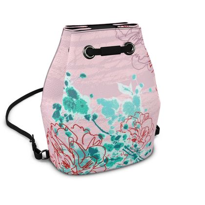 Napa Leather Bucket Bag - Florals in Pink and Aqua