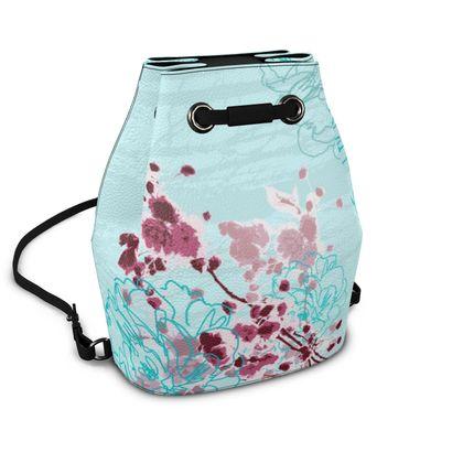 Napa Leather Bucket Bag - Florals in Aqua Blue