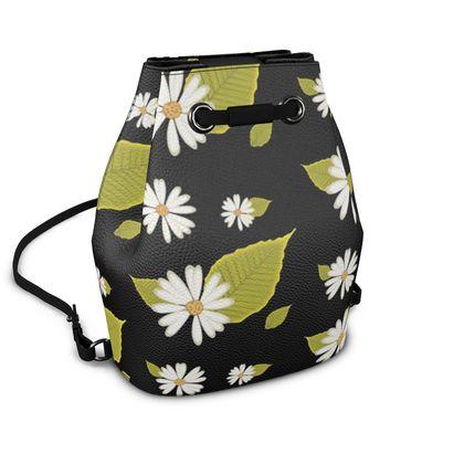 Napa Leather Bucket Bag - Daisy Floral on Black