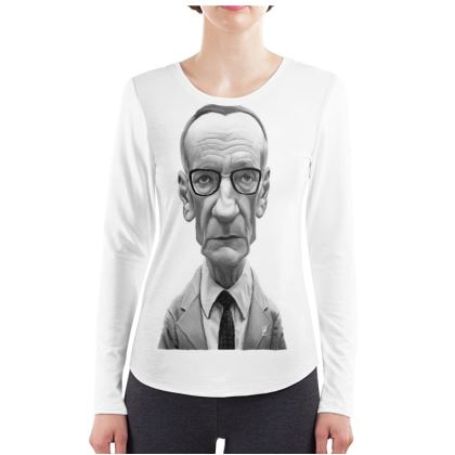 William Burroughs Celebrity Caricature ladies Long Sleeve Shirt