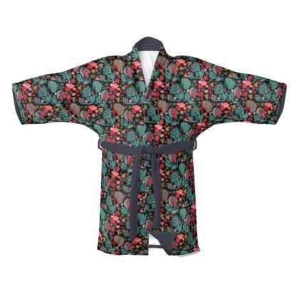 Kimono design floral japonais noir