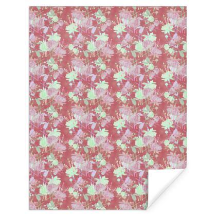 Gift Wrap Brown, Floral  Fuchsias  Sassy Cinnamon