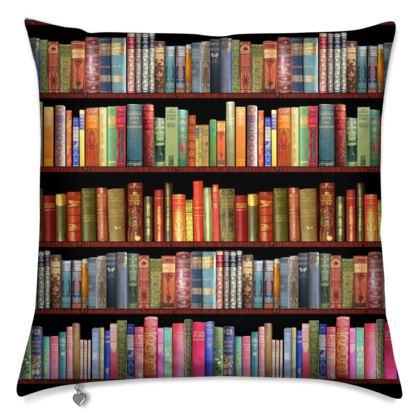 Retro bookshelf cushion // bibliophiles cushion