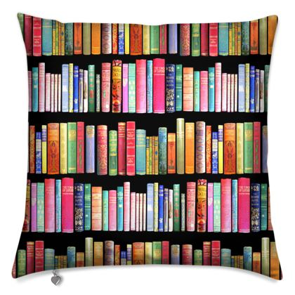 vintage bookshelf cushion // bibliophile gift