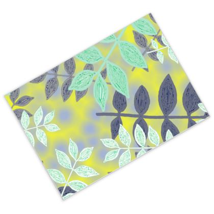 Postcards [pack of 16] Yellow, Green, botanical  Etched Leaves  Sunlight