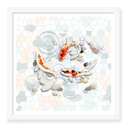 Framed Art Prints 'Clear Water Koi' Artwork One 16x16 inch