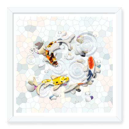 Framed Art Prints 'Clear Water Koi' Artwork Two 16x16 inch