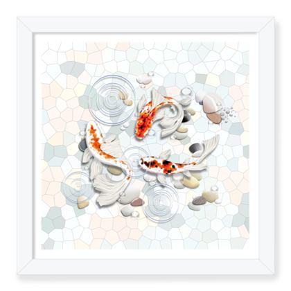 Framed Art Prints - 'Clear Water Koi' Artwork One 12x12 inch