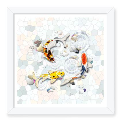 Framed Art Prints 'Clear Water Koi' Artwork Two 12x12 inch