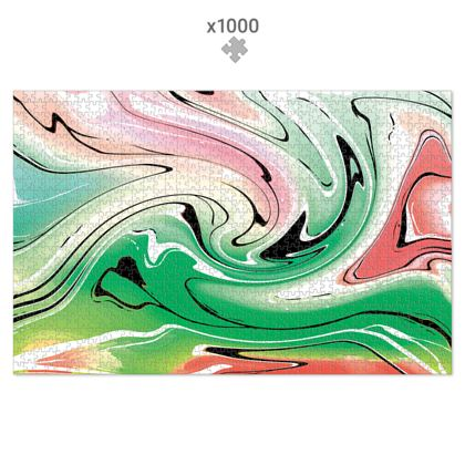 Jigsaw Puzzle - Multicolour Swirling Marble Pattern 1 of 12