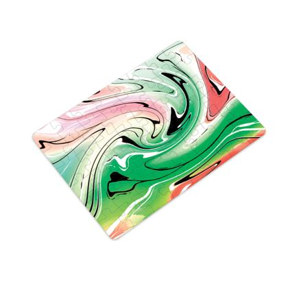 Plastic Jigsaw Puzzle - Multicolour Swirling Marble Pattern 1 of 12