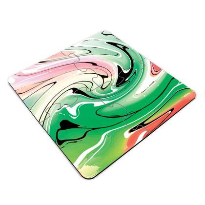 Jigsaw Coasters - Multicolour Swirling Marble Pattern 1 of 12