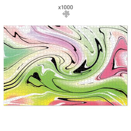 Jigsaw Puzzle - Multicolour Swirling Marble Pattern 2 of 12