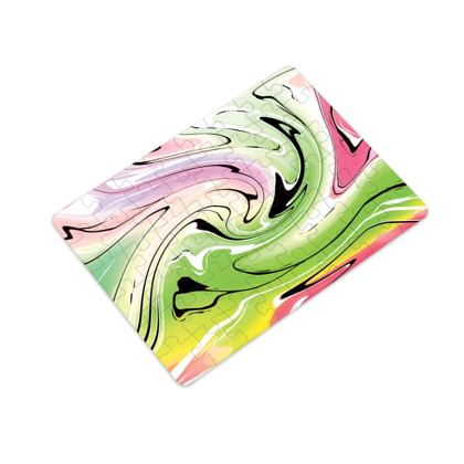 Plastic Jigsaw Puzzle - Multicolour Swirling Marble Pattern 2 of 12