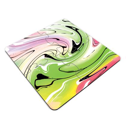 Jigsaw Coasters - Multicolour Swirling Marble Pattern 2 of 12