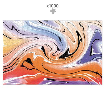 Jigsaw Puzzle - Multicolour Swirling Marble Pattern 4 of 12