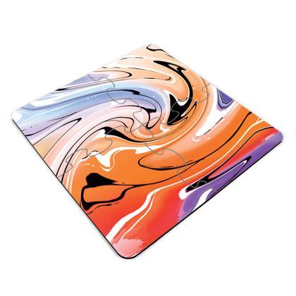 Jigsaw Coasters - Multicolour Swirling Marble Pattern 4 of 12
