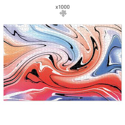 Jigsaw Puzzle - Multicolour Swirling Marble Pattern 5 of 12