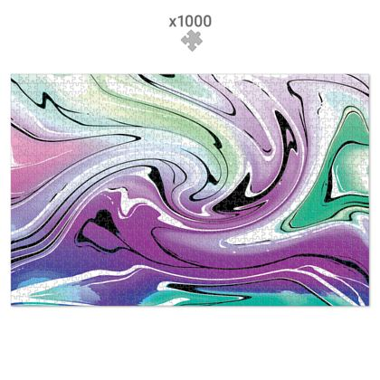 Jigsaw Puzzle - Multicolour Swirling Marble Pattern 7 of 12