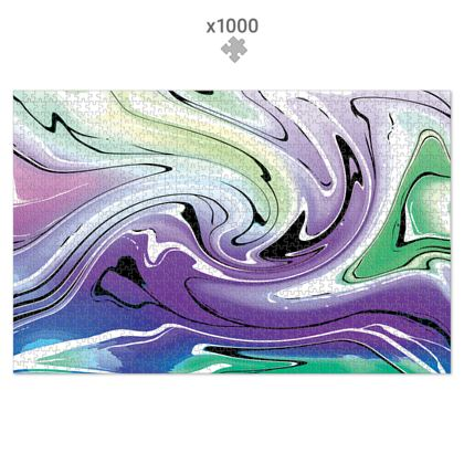 Jigsaw Puzzle - Multicolour Swirling Marble Pattern 8 of 12