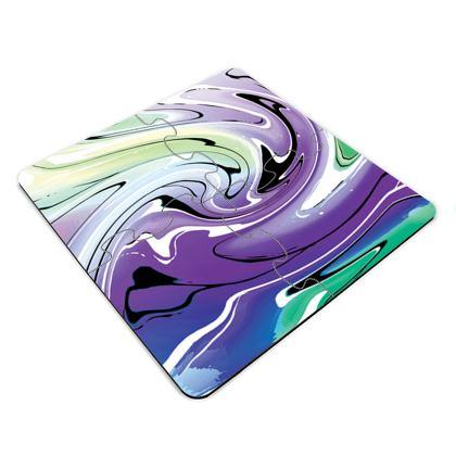 Jigsaw Coasters - Multicolour Swirling Marble Pattern 8 of
