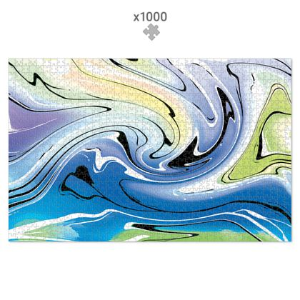 Jigsaw Puzzle - Multicolour Swirling Marble Pattern 9 of 12
