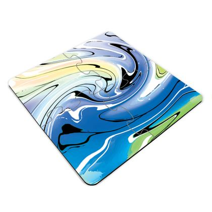 Jigsaw Coasters - Multicolour Swirling Marble Pattern 9 of 12