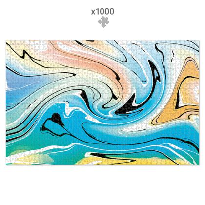 Jigsaw Puzzle - Multicolour Swirling Marble Pattern 10 of 12