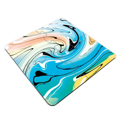 Jigsaw Coasters - Multicolour Swirling Marble Pattern 10 of 12