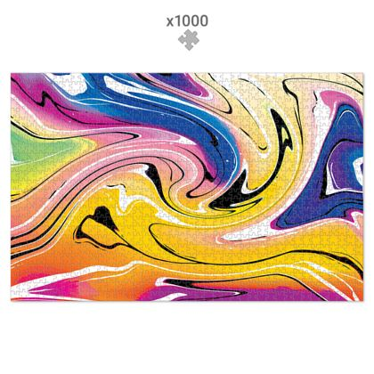 Jigsaw Puzzle - Multicolour Swirling Marble Pattern 12 of 12