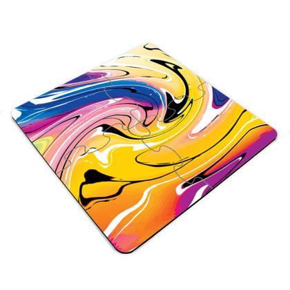 Jigsaw Coasters - Multicolour Swirling Marble Pattern 12 of 12