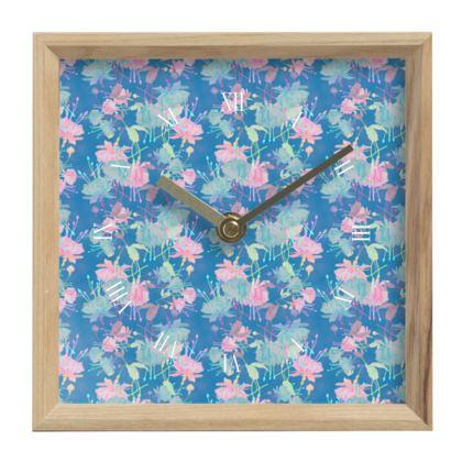 Mantle Clock Blue, Pink, Floral  Fuchsias  Airforce