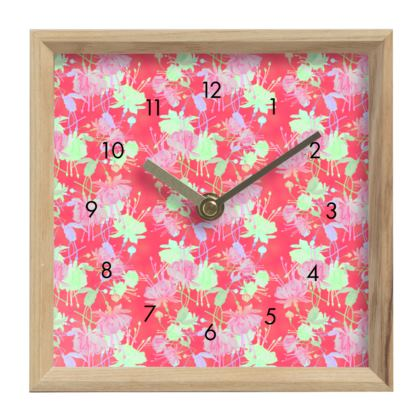 Mantle Clock, Red, Pink, Floral  Fuchsias  Hot Pepper