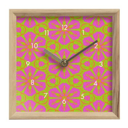 Mantle Clock Pink, Green, Floral  Geometric Florals  Dancing Flowers