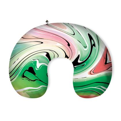 Neck Pillow - Multicolour Swirling Marble Pattern 1 of 12