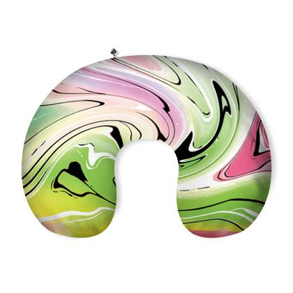 Neck Pillow - Multicolour Swirling Marble Pattern 2 of 12